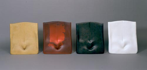 Laura de Santillana. <em>Senza Titolo</em>, 2005. Hand-blown glass with silver foil, wax, cast bronze, and plaster. Overall: 18 7/8 x 17 5/16in. (48 x 44cm) each. Museum of Arts & Design, New York. Museum purchase with funds provided by Frances Alexander Foundation, Bonnie Korn, The Windgate Charitable Foundation and the Collections Committee, 2006. Photo credit: Unknown.