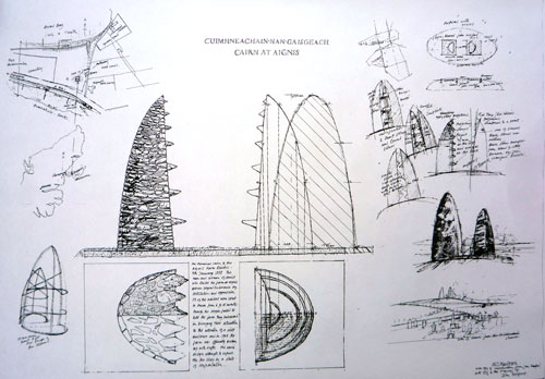 Will Maclean. Construction drawing, Land raiders memorial, Aignish, 1994.