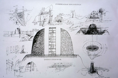Will Maclean. Construction drawing, Land raiders memorial, Cairn at Gress, Isle of Lewis 2013.