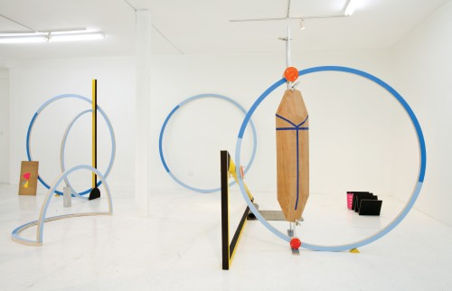 Ohad Mermomi. The Working Day, 2012. Wood, acrylic paint, aluminium, PVC, concrete, paper. Photograph: Silvia Ross.