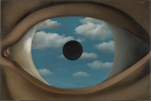 René Magritte. Le faux miroir (The False Mirror), 1929. Oil on canvas, 21 1/4 x 31 7/8″ (54 x 80.9 cm). The Museum of Modern Art, New York. Purchase. © Charly Herscovici -–ADAGP – ARS, 2013.