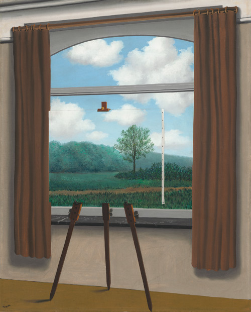 René Magritte. La condition humaine (The Human Condition), 1933. Oil on canvas, 100 x 81 x 1.6 cm (39 3/8 x 31 7/8 x 5/8 in.). National Gallery of Art, Washington, Gift of the Collector's Committee. © Charly Herscovici -–ADAGP – ARS, 2013