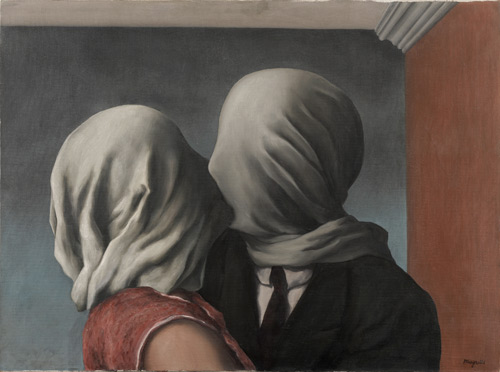René Magritte. Les amants (The Lovers), 1928. Oil on canvas, 21 3/8 x 28 7/8″ (54 x 73.4 cm). Museum of Modern Art. Gift of Richard S. Zeisler. © Charly Herscovici - ADAGP – ARS, 2013.