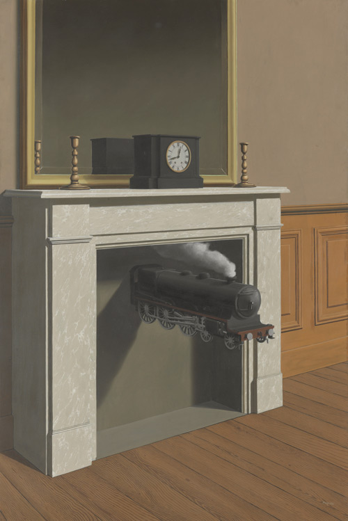 René Magritte. La durée poignardée (Time Transfixed), 1938. Oil on canvas, 57 7/8 x 39″ (147 x 99 cm). The Art Institute of Chicago, Chicago. Joseph Winterbotham Collection. © Charly Herscovici - ADAGP – ARS, 2013.