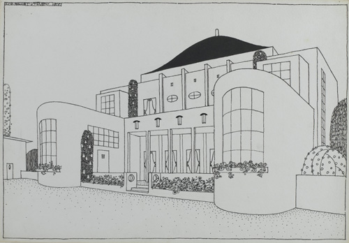 Projet pour une cité moderne : cercle populaire, 1917. Encre de 