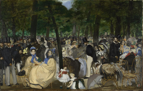 Edouard Manet. Music in the Tuileries Gardens, 1862. Oil on canvas, 76.2 x 118.1 cm. The National Gallery, London. Sir Hugh Lane Bequest, 1917.