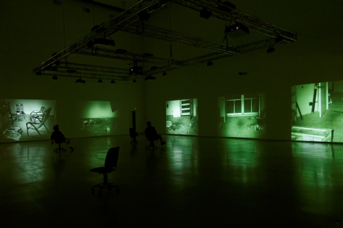 Bruce Nauman. Mapping the Studio I (Fat Chance John Cage), 2001. 7 DVD projections, 5:40:00 min. Collection of Dia Art Foundation; Partial Gift, Lannan Foundation, 2013. Exhibition copy — the original is on view at Dia: Beacon, New York, USA.
