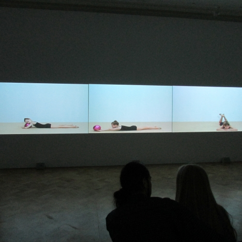 "Rineke Dijkstra. Marianna, 2014. Video. Commissioned by MANIFESTA 10, St. Petersburg. With the support of the Ilya Kuznetsov Ballet School of Dance and the St. Petersburg Center of artistic gymnastics ""Zhemchuzhina"". With the support of the Mondrian Foundation and the Wilhelmina Jansen Foundation."
