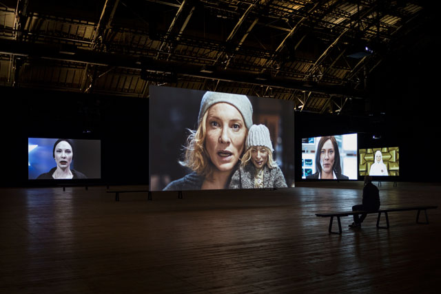 Julian Rosefeldt. Manifesto at Park Avenue Armory, New York City. Installation view. Photograph: James Ewing.