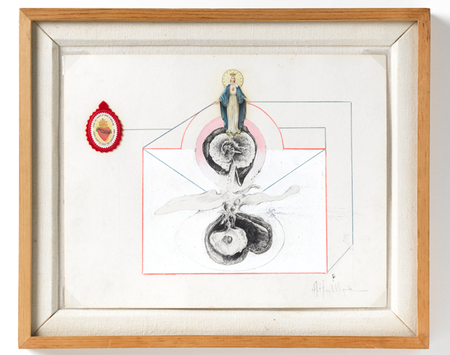 Robert Mapplethorpe. Untitled / Madonna Medallion, 1968. Colour pencil, paint, found object, sticker on paper, 27.9 x 34.3 cm. Courtesy Galerie Thaddeus Ropac, Paris/Salzburg. © Robert Mapplethorpe Foundation. Used by permission. Photograph: Ulrich Ghezzi.