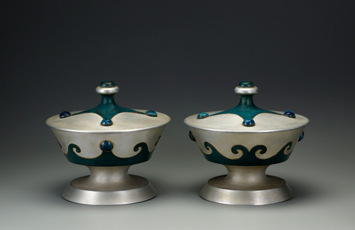 Marie Zimmermann. Covered chalices, 1931. Aluminum, painted copper and colored paste, 8 1/2 x 9 1/2 in. (21.6 x 24.1 cm). Carnegie Museum of Art, Pittsburgh, Roy A. Hunt Foundation, by exchange, and Second Century Acquisition Fund (2010.7.1-2). Photo: Gavin Ashworth © American Decorative Art 1900 Foundation. Used by permission.