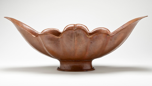 Marie Zimmermann. Bowl. Copper, 7 1/4 x 19 1/4 x 9 1/4 in (18.4 x 48.9 x 23.5 cm). Los Angeles County Museum of Art, Gift of American Decorative Art 1900 Foundation in honor of Wendy Kaplan (M.2008.276). © Los Angeles County Museum of Art. Used by permission.