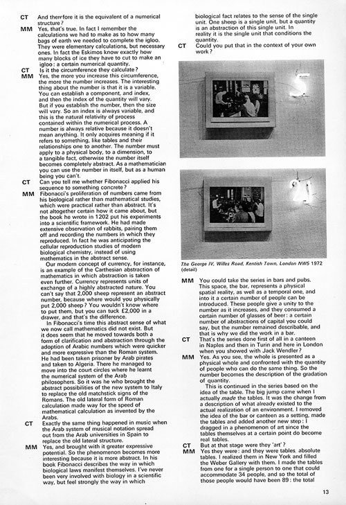 Mario Merz. An interview by Caroline Tisdall. Studio International, January/February 1976, page 13.