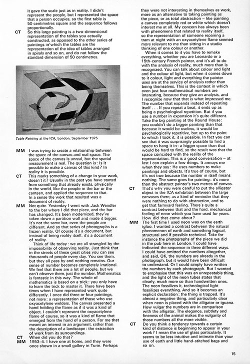Mario Merz. An interview by Caroline Tisdall. Studio International, January/February 1976, page 15.