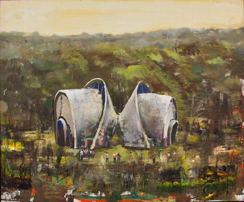 Marius Bercea. <em>Monuments Monuments,</em> 2011. Oil on canvas, 124 x 149 cm (48.82 x 58.66 in). Photo: Peter Mallett.