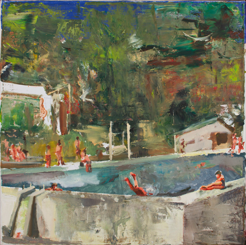 Marius Bercea. <em>Untitled (swimming pool),</em> 2011. Oil on canvas, 50 x 50 cm (19.69 x 19.69 in). Photo: Peter Mallett.