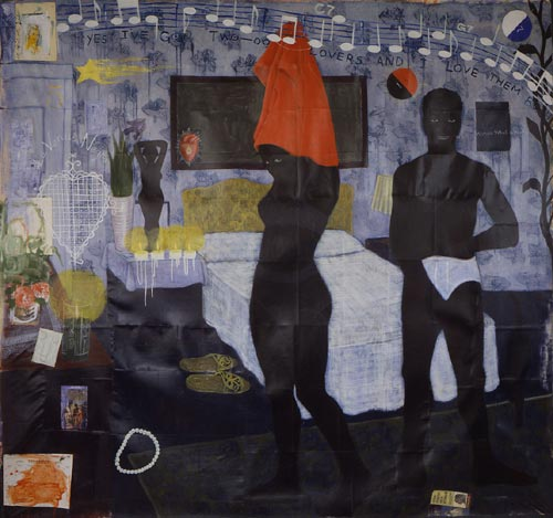 Kerry James Marshall. <em>Could this be love</em>, 1992. Acrylic and collage on canvas. Courtesy The Bailey Collection, Toronto.
