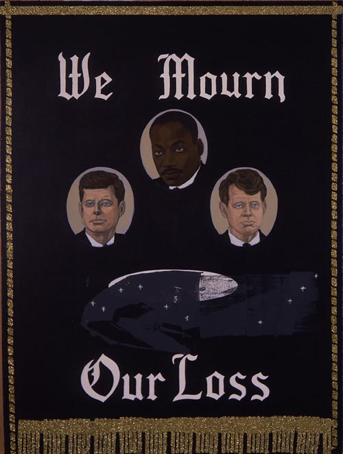 Kerry James Marshall. <em>We Mourn Our Loss 1</em>, 1997. Acrylic and glitter on MDF panel. Courtesy John and Sharon Hoffman.