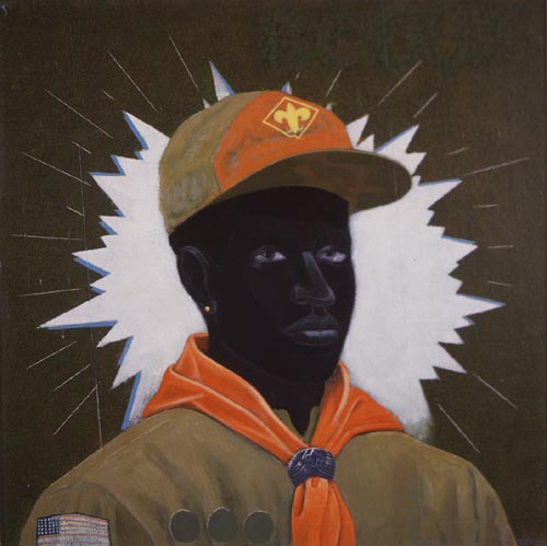 Kerry James Marshall. <em>Scout (Boy),</em> 1995. Acrylic and mixed media on canvas mounted on board. Collection Museum of Contemporary Art, Chicago, Partial and promised gift from the Lewis and Susan Manilow. Collection of Chicago Artists. Courtesy Jack Shainman Gallery, New York.