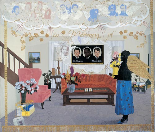 Kerry James Marshall. <em>Souvenir II</em>, 1997. Acrylic, collage and glitter on unstretched canvas banner. Purchased as the gift of the Addison Advisory Council in honor of John ('Jock') M. Reynolds&rsquo;s directorship of the Addison Gallery of American Art, 1989-1998, Addison Gallery of American Art, Phillips Academy, Andover, Massachusetts.
