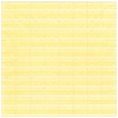 Agnes Martin, Untitled 1977. Watercolour and graphite on paper 9 x 9 in (22.9 x 22.9 cm). Private collection. Photograph courtesy of Pace Gallery. © 2015 Agnes Martin / Artists Rights Society (ARS), New York.