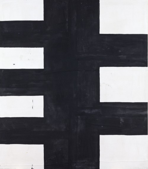 Chris Martin. Seven (Black and White), 2014. Acrylic on canvas, 88 x 77 in (223.5 x 195.6 cm). Courtesy of Anton Kern Gallery, New York.