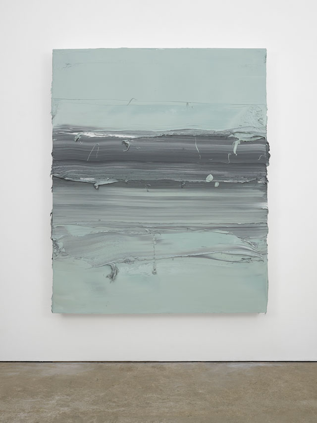 Jason Martin. Untitled (Davy's Grey / Ivory Black), 2016. Oil on aluminium, 220 x 178 cm (86 5/8 x 70 in). © Jason Martin; Courtesy Lisson Gallery.