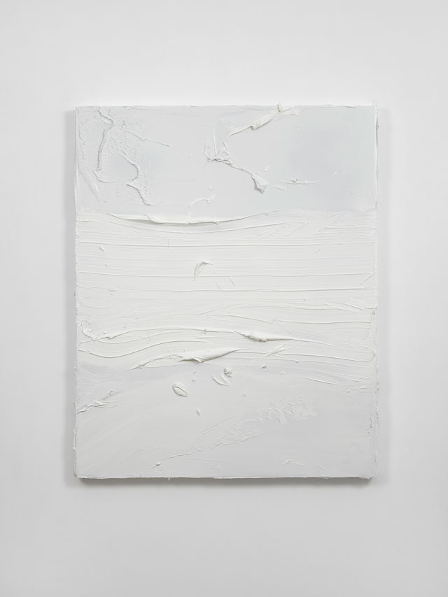 Jason Martin. Untitled (Dry White), 2016. Oil on aluminium, 176 x 142 cm (69 ¼ x 55 7/8 in). © Jason Martin; Courtesy Lisson Gallery.