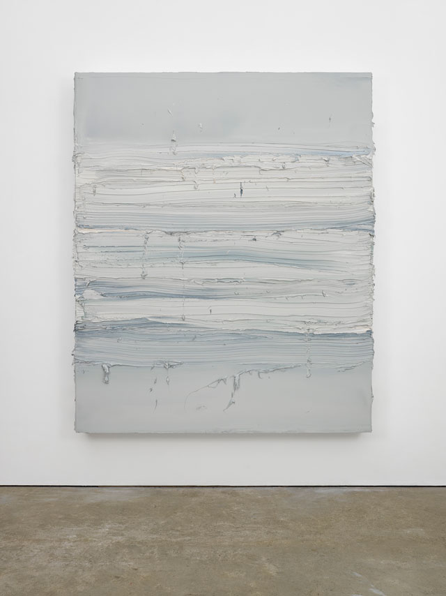 Jason Martin. Untitled (Davy's Grey / Payne's Grey), 2016. Oil on aluminium, 242 x 199 cm (95 ¼ x 78 3/8 in). © Jason Martin; Courtesy Lisson Gallery.
