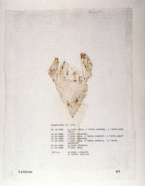 Mary Kelly. Post-Partum Document, 1973&ndash;79. <em>Documentation I, Analysed Faecal Stains and Feeding Charts</em>, (detail) 1974. Perpsex units, white card, diaper linings, plastic sheeting, paper,ink, 31 units, 28 x 35.5 cm each. Courtesy Werner Kaligofsy and the artist. Collection of the Art Gallery of Ontario.