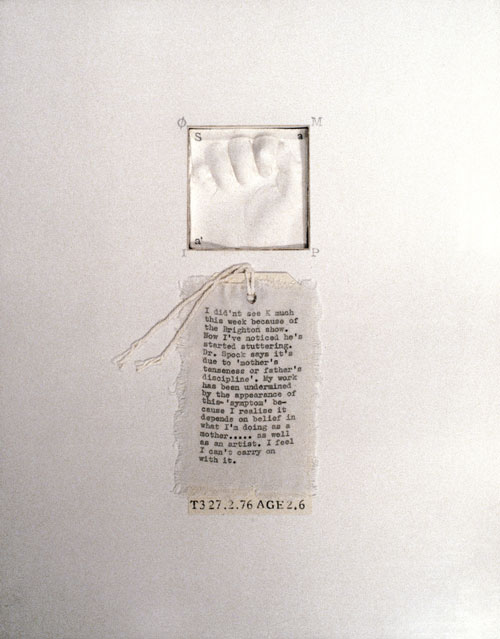 Mary Kelly. Post-Partum Document, 1973–79. <em>Documentation IV, Transitional Objects, Diary and Diagram</em>, (detail) 1976. Perpsex units, white card, plaster, cotton fabric 1 of the 8 units, 28 x 35.5 cm . Courtesy Werner Kaligofsy and the artist. Collection of Kunsthaus Zurich.