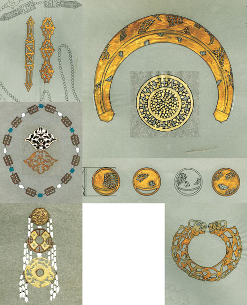 Designs for Mary McFadden jewels, painted by Dede Shipman.