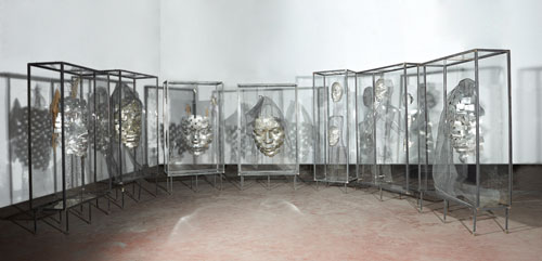 Xavier Mascaró. Masks, 2014. Iron, plexiglass, aluminium, mesh, fabric, dimensions variable. © Xavier Mascaró, 2014. Image courtesy of the artist. Photograph: Joaquin Cortes.