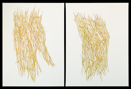 Jeanne Masoero. Magnetic Field IX (diptych), 2011 (from the series Infinite Complex of Surfaces). Acrylic on canvas, 81 x 61 cm.