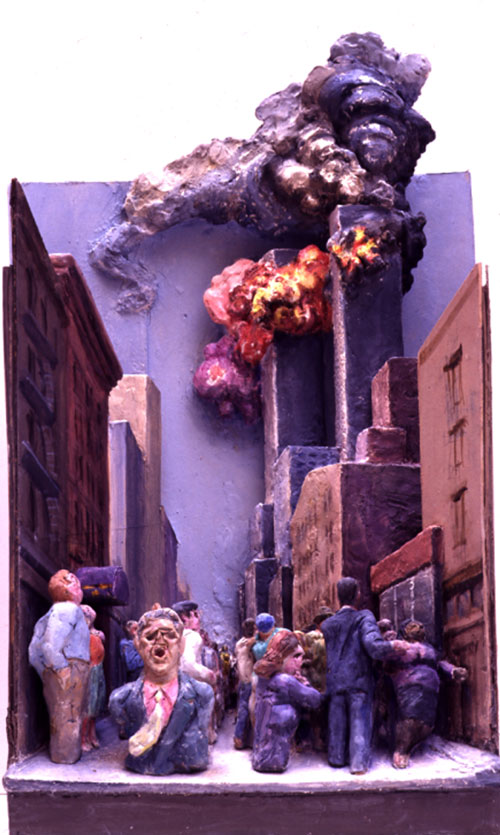 Raymond Mason.<em> Twin Towers Ablaze</em>, 2003. Photo: Malborough Fine Art, London.