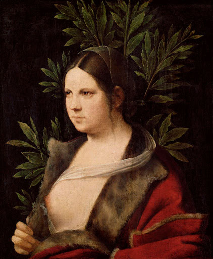 Giorgio da Castelfranco, called Giorgione. <em>Portrait of a Young Woman (Laura)</em>, 1506. Oil on canvas mounted on panel, 16⅛ x 13¼ in. Kunsthistorisches Museum, Vienna.
