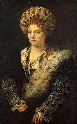 Tiziano Vecellio, called Titian. <em>Portrait of Isabella d'Este, Marchioness of Mantua</em>, c1534-6. Oil on canvas, 40⅛ x 25¼ in. Kunsthistorisches Museum, Vienna.