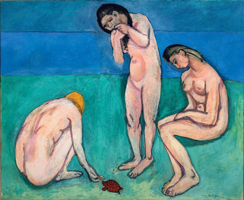 Henri Matisse. <em>Bathers with a Turtle</em>, 1907–08. Oil on canvas, 179.1 x 220.3 cm (70 1/2 x 87 3/4 inches). Saint Louis Art Museum, gift of Mr and Mrs Joseph Pulitzer Jr., 24:1964. © 2010 Succession H. Matisse/Artists Rights Society (ARS), New York.