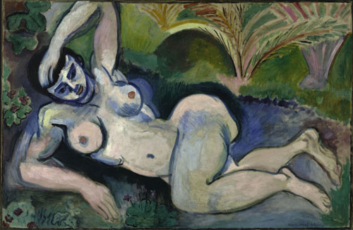 Henri Matisse. <em>Blue Nude</em> (<em>Memory of Biskra</em>), 1907. Oil on canvas, 92.1 x 140.4 cm (36 1/4 x 55 1/4 inches). The Baltimore Museum of Art, The Cone Collection. © 2010 Succession H. Matisse/Artists Rights Society (ARS), New York.
