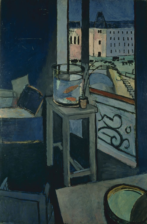 Henri Matisse. <em>Interior with Goldfish</em>, 1914. Oil on canvas, 57 7/8 x 38 1/8 inches (147 x 96.8 cm). Musée National d'Art Moderne/Centre de Création Industrielle, Centre Pompidou, Paris. Bequest of Baroness Eva Gourgaud, 1965.