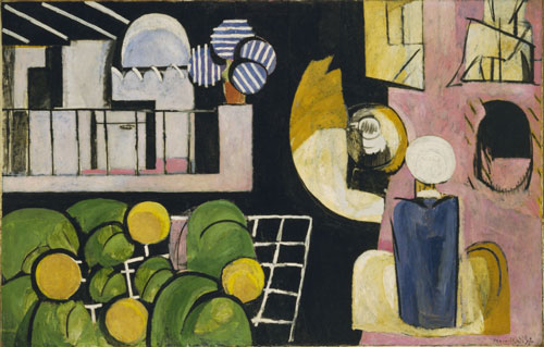Henri Matisse. <em>The Moroccans. Issy-les-Moulineaux</em>, late 1915 and fall 1916. Oil on canvas, 71⅜ x 110 inches (181.3 x 279.4 cm). The Museum of Modern Art, New York, Gift of Mr and Mrs Samuel A Marx. © 2010 Succession H. Matisse/Artists Rights Society (ARS), New York.