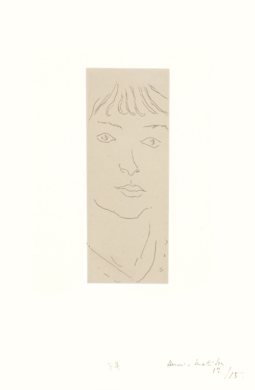 Henri Matisse. Fanny de Face, 1914. Etching on chine applique, 6 1/4 x 2 3/8 in. © DACS.