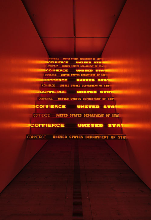 13 electronic signs with red and amber diodes, 140.3 x 109 x 172.2 in.; 356.2 x 276.9 x 437.4 cm. Installation: Jenny Holzer, BALTIC Centre for Contemporary Art, Gateshead Quays, United Kingdom, 2010. Text: US government documents.
