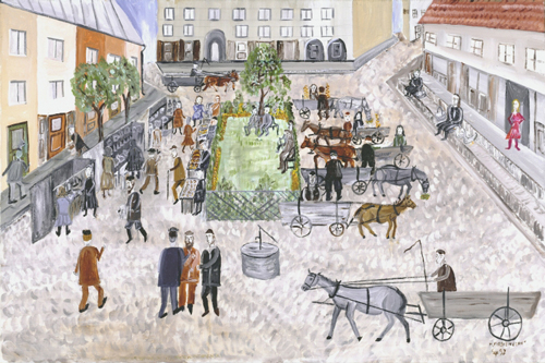 Mayer Kirshenblatt. <em>Market Day</em> 1992. Acrylic on canvas.  Collection of Barbara Kirshenblatt-Gimblett and Max Gimblett, New York.  Courtesy of Barbara Kirshenblatt-Gimblett.  © 2009 Mayer Kirshenblatt.