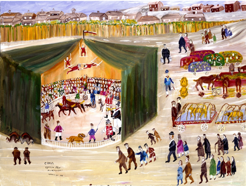 Mayer Kirshenblatt. <em>Circus </em>2005. Acrylic on canvas.  Collection of the artist.  Courtesy of Barbara Kirshenblatt-Gimblett. © 2009 Mayer Kirshenblatt.