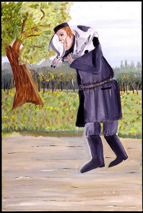 Mayer Kirshenblatt. <em>Butcher Carrying a Calf</em> 1992. Acrylic on canvas.  Collection of the artist.  Courtesy of Barbara Kirshenblatt-Gimblett.  © 2009 Mayer Kirshenblatt.