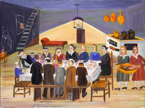 Mayer Kirshenblatt. <em>Passover Seder at My Paternal Grandfather's</em> 1992. Acrylic on canvas.  Collection of the artist.  Courtesy of Barbara Kirshenblatt-Gimblett.  © 2009 Mayer Kirshenblatt.