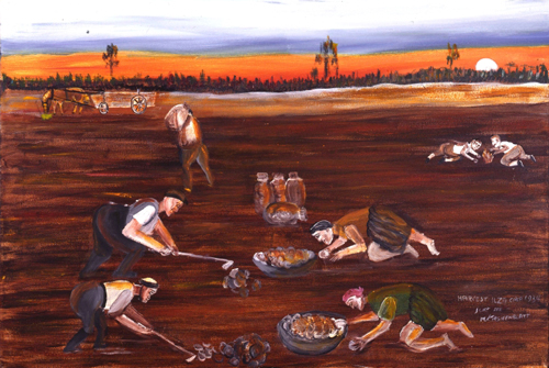 Mayer Kirshenblatt. <em>Potato Harvest, Ilza</em> 2001. Acrylic on canvas.  Collection of the artist.  Courtesy of Barbara Kirshenblatt-Gimblett.   © 2009 Mayer Kirshenblatt.