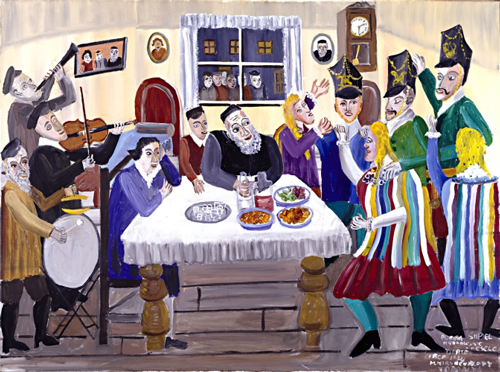 "Mayer Kirshenblatt. <em>Purim Play: ""The Kraków Wedding"",</em> c. 1994. Acrylic on canvas.  Collection of Barbara Kirshenblatt-Gimblett and Max Gimblett, New York.  Courtesy of Barbara Kirshenblatt-Gimblett.  © 2009 Mayer Kirshenblatt."