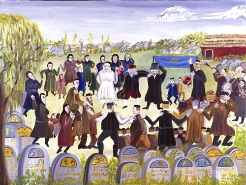 Mayer Kirshenblatt. <em>The Black Wedding in the Cemetery, c. 1892, </em>1996. Acrylic on canvas.  Collection of Barbara Kirshenblatt-Gimblett and Max Gimblett, New York.  Courtesy of Barbara Kirshenblatt-Gimblett. © 2009 Mayer Kirshenblatt.
